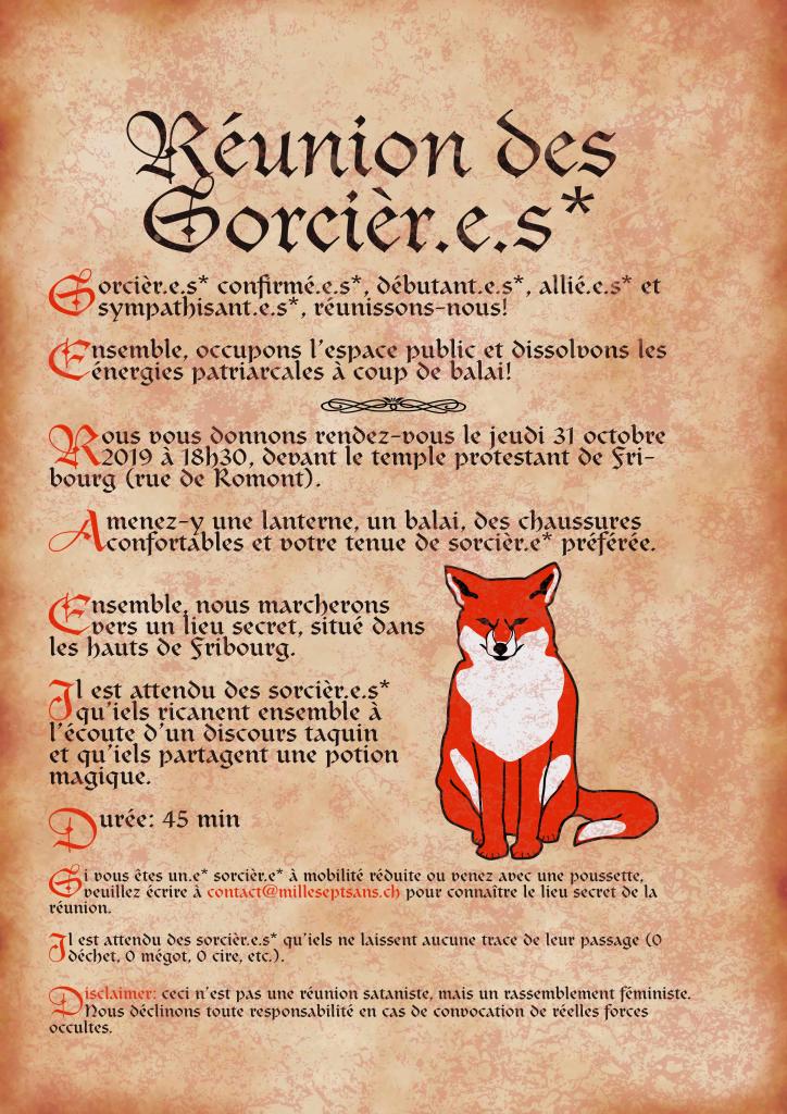 Flyer Réunion des Sorcièr.e.s* 2019